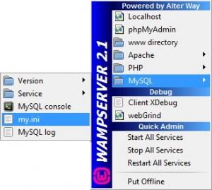 Klik icon WampServer di Taskbar kemudian buka MySQL -> my.ini