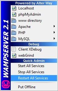 "Restart WampServer dengan klik icon WampServer di Taskbar kemudian pilih ""Restart All Services"""