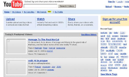 Youtube – Aug. 2005