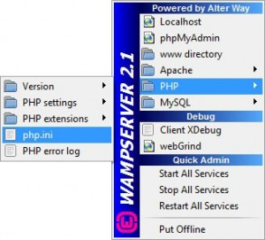 Klik icon WampServer di Taskbar kemudian buka PHP -> php.ini