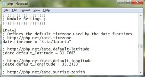 "Ubahlah ""date.timezone = UTC"" menjadi ""date.timezone = ""Asia/Jakarta"""""